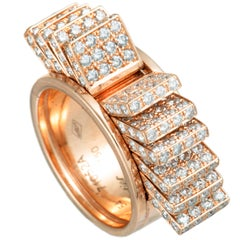 Cartier Diamond Rose Gold Fan Band Ring