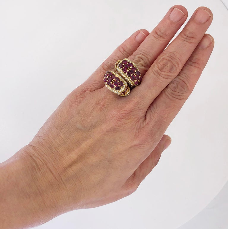 Round Cut Cartier Diamond, Ruby Dolphin Ring For Sale