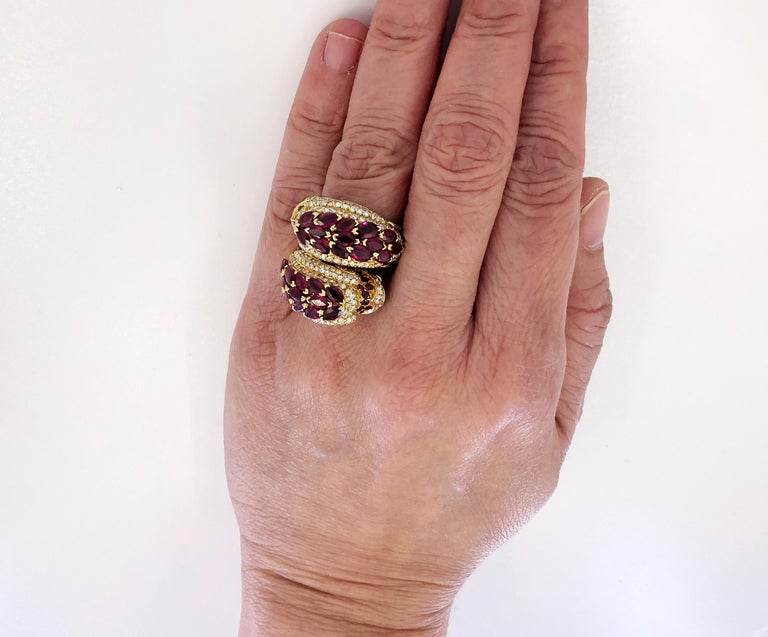 Women's or Men's Cartier Diamond, Ruby Dolphin Ring For Sale