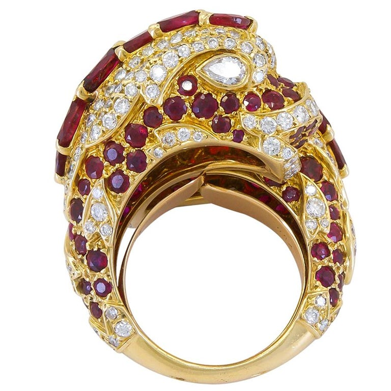 Cartier Diamond, Ruby Dolphin Ring For Sale