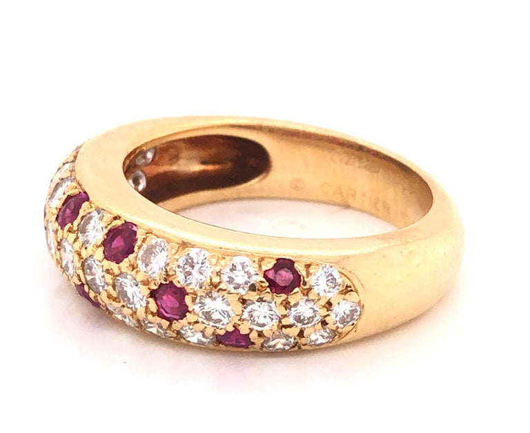 Modern Cartier Diamond & Ruby Mimi Ring 18k Yellow Gold For Sale