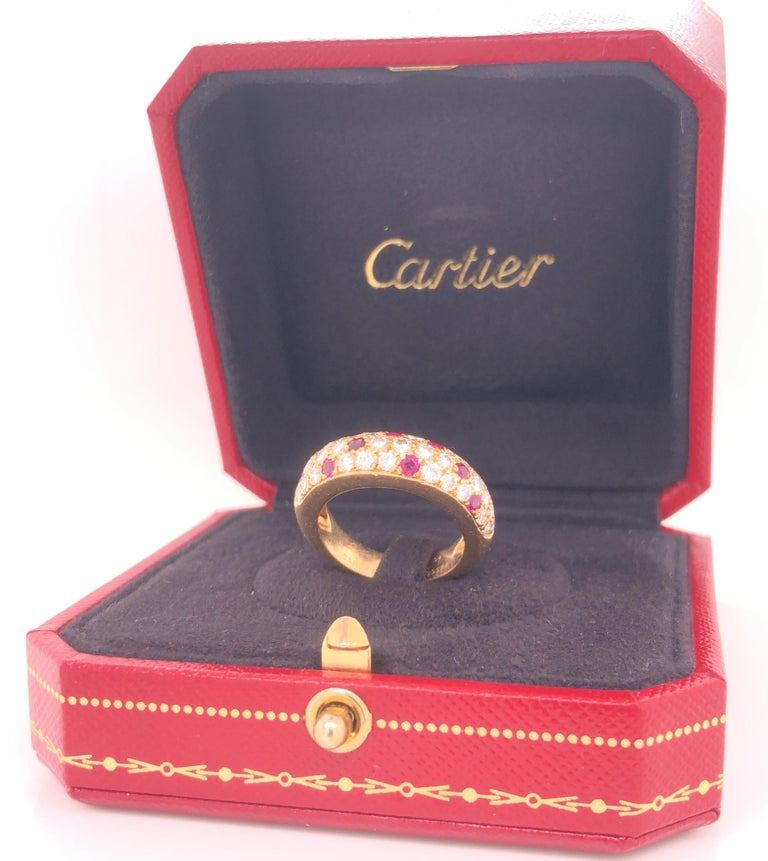 Round Cut Cartier Diamond & Ruby Mimi Ring 18k Yellow Gold For Sale