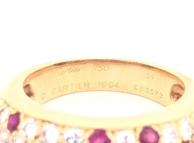 Cartier Diamond & Ruby Mimi Ring 18k Yellow Gold In Good Condition For Sale In MIAMI, FL