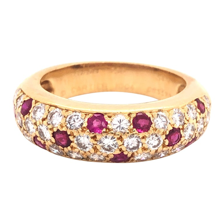 Cartier Diamond & Ruby Mimi Ring 18k Yellow Gold For Sale