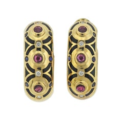 Cartier Diamond Ruby Sapphire Enamel Gold Hoop Earrings