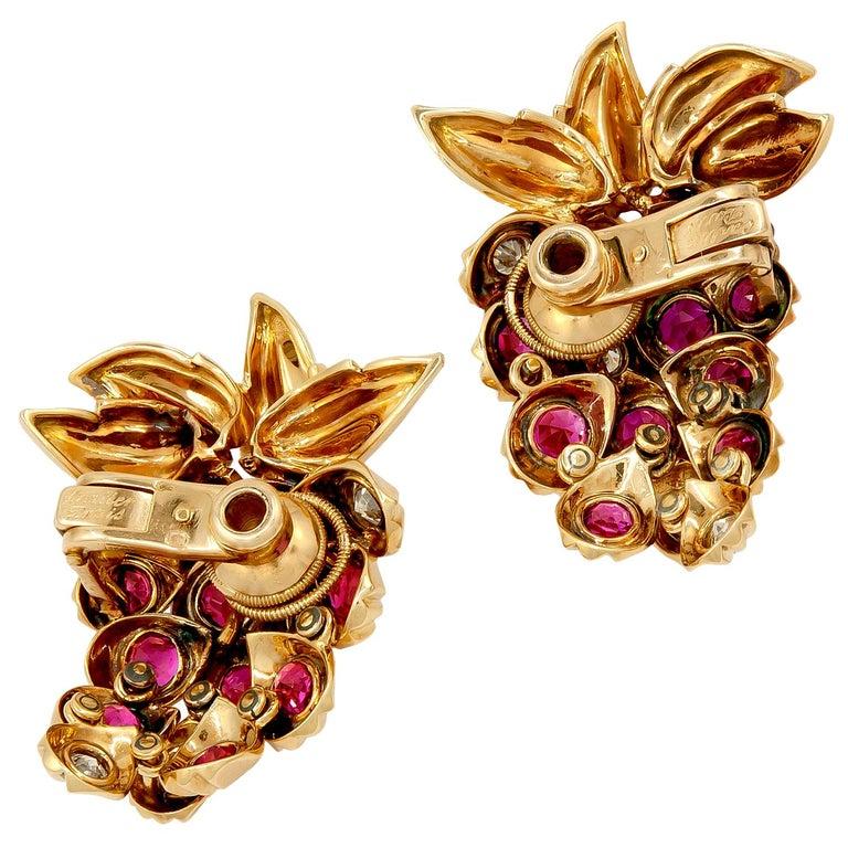 Round Cut Cartier Diamond, Ruby Strawberry Motif Earrings For Sale
