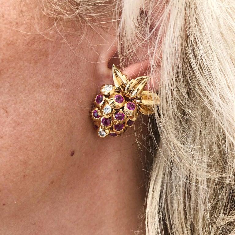 Women's Cartier Diamond, Ruby Strawberry Motif Earrings For Sale