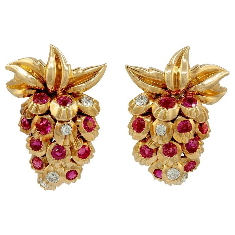 Cartier Diamond, Ruby Strawberry Motif Earrings For Sale