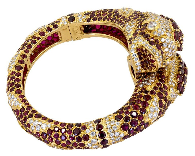 Round Cut Cartier Diamond Ruby Two Dolphins Bangle-Bracelet For Sale