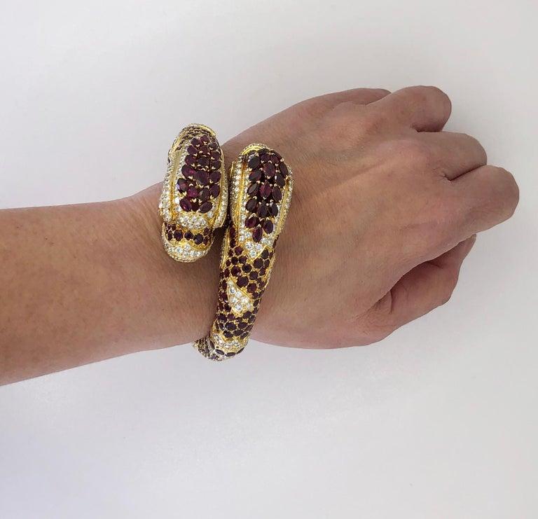 Women's or Men's Cartier Diamond Ruby Two Dolphins Bangle-Bracelet For Sale
