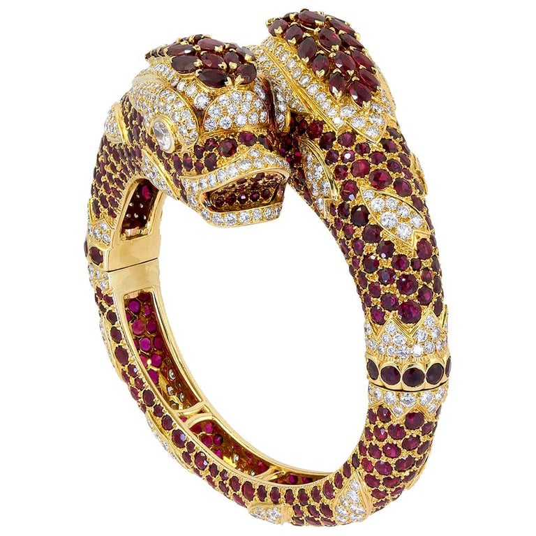 Cartier Diamond Ruby Two Dolphins Bangle-Bracelet For Sale