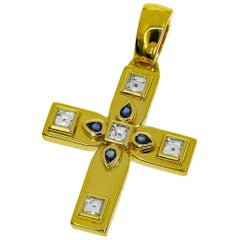 Cartier Diamond Sapphire 18 Karat Yellow Gold Byzantine Cross Charm SM