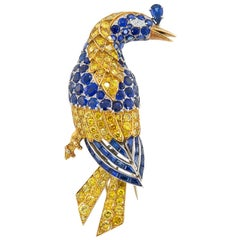 Cartier Diamond Sapphire Yellow Gold Platinum Bird Brooch