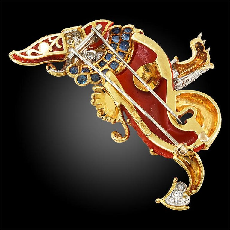 Cartier Diamond, Sapphire and Carved Coral Griffin Brooch In Good Condition For Sale In New York, NY