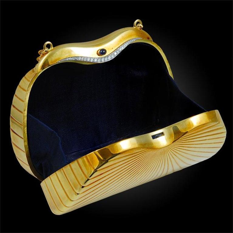 Art Deco Cartier Paris 1980 Diamond Gold Evening Purse  For Sale