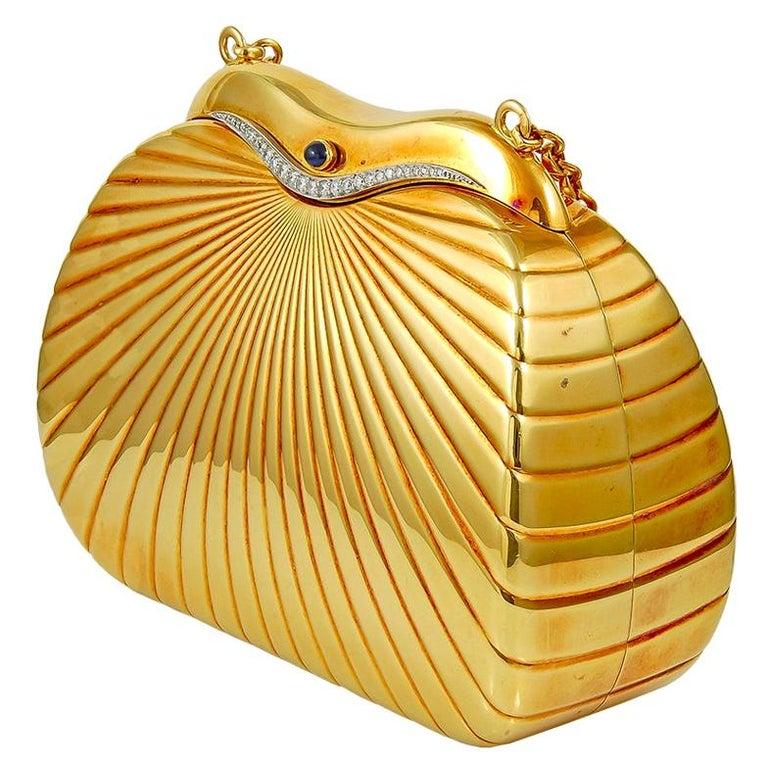 Cartier Paris 1980 Diamond Gold Evening Purse  For Sale