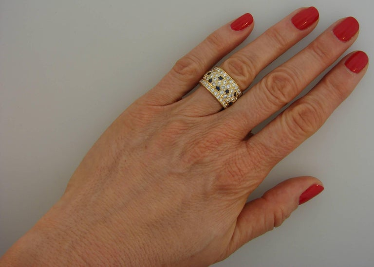 Women's Cartier Diamond Sapphire Yellow Gold Band Ring For Sale