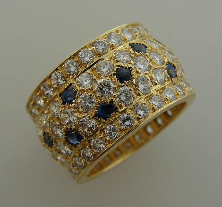 Cartier Diamond Sapphire Yellow Gold Band Ring For Sale 1