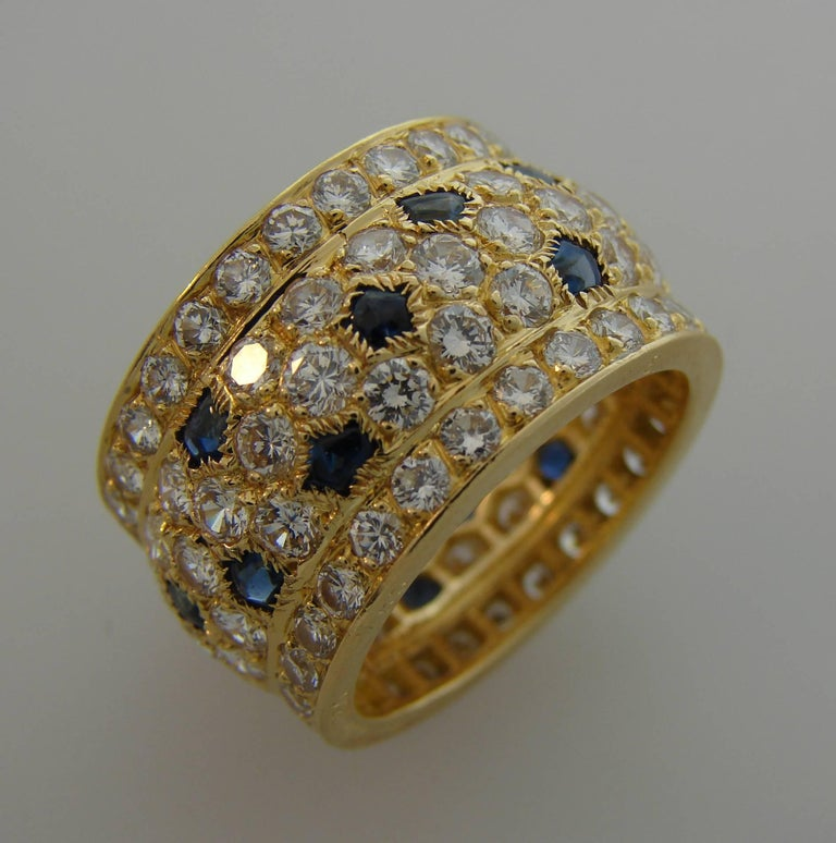 Cartier Diamond Sapphire Yellow Gold Band Ring For Sale 2