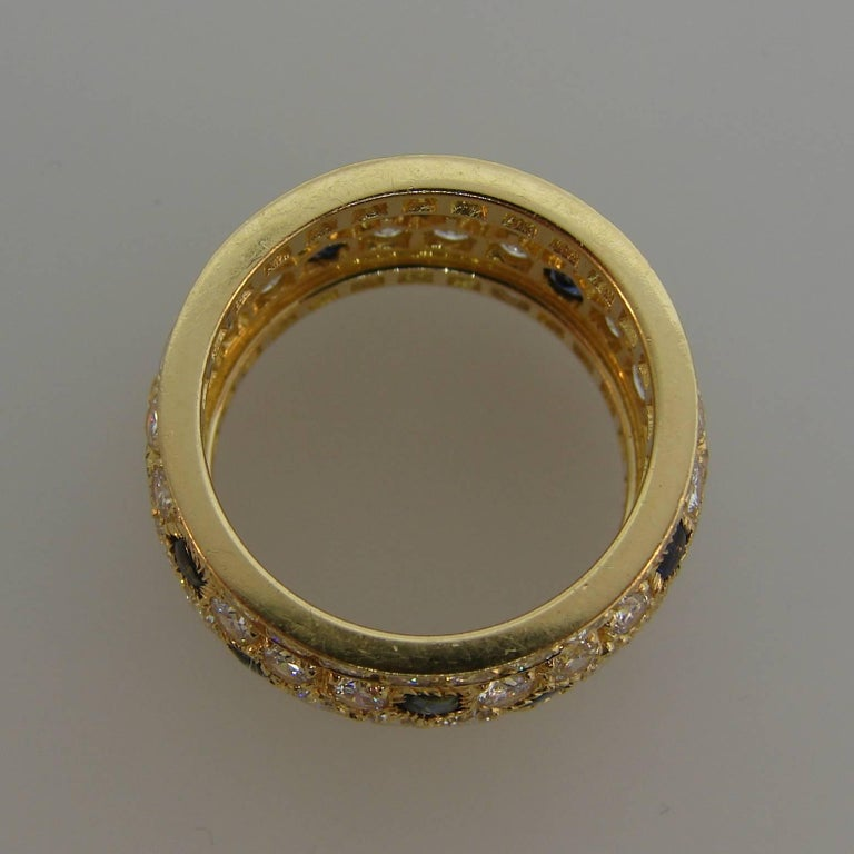 Cartier Diamond Sapphire Yellow Gold Band Ring For Sale 3