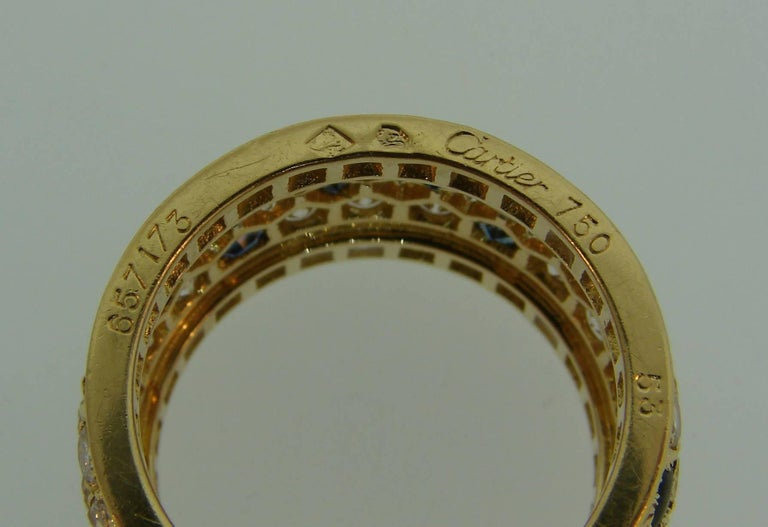 Cartier Diamond Sapphire Yellow Gold Band Ring For Sale 4