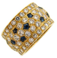 Cartier Diamond Sapphire Yellow Gold Band Ring