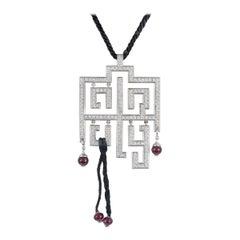 Cartier Diamond Set Le Baiser Du Dragon Pendant with Ruby Beads