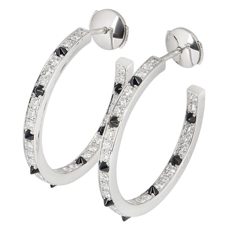 Cartier Diamond Set Onyx Panthere de Cartier Earrings 1.04 Carat For Sale