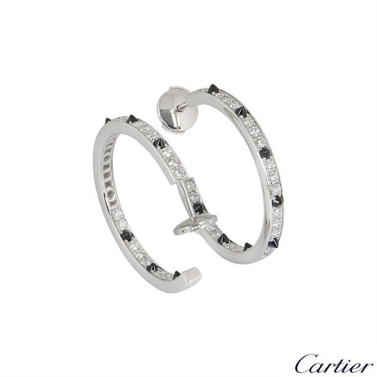 Round Cut Cartier Diamond Set Onyx Panthere de Cartier Earrings 1.04 Carat For Sale