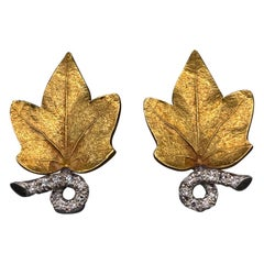 Cartier Diamond Set Yellow Gold Retro Leaf Design Earrings