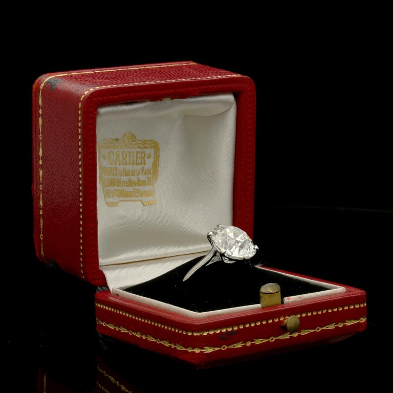 Cartier Diamond Solitaire Ring with a 6.06 Carat Old Mine Brilliant Cut Diamonds 3