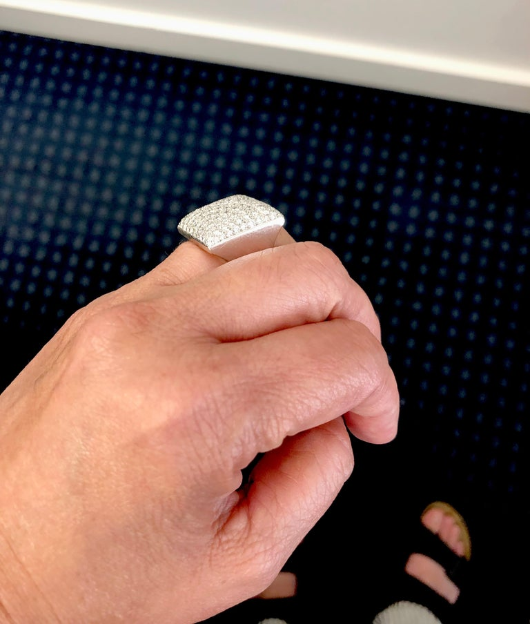 Round Cut Cartier Diamond Square Shape Ring For Sale