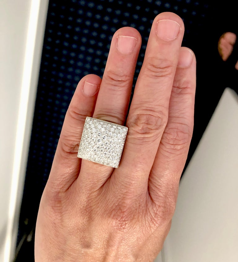 Cartier Diamond Square Shape Ring In Good Condition For Sale In New York, NY