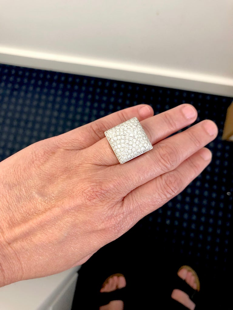 Women's Cartier Diamond Square Shape Ring For Sale