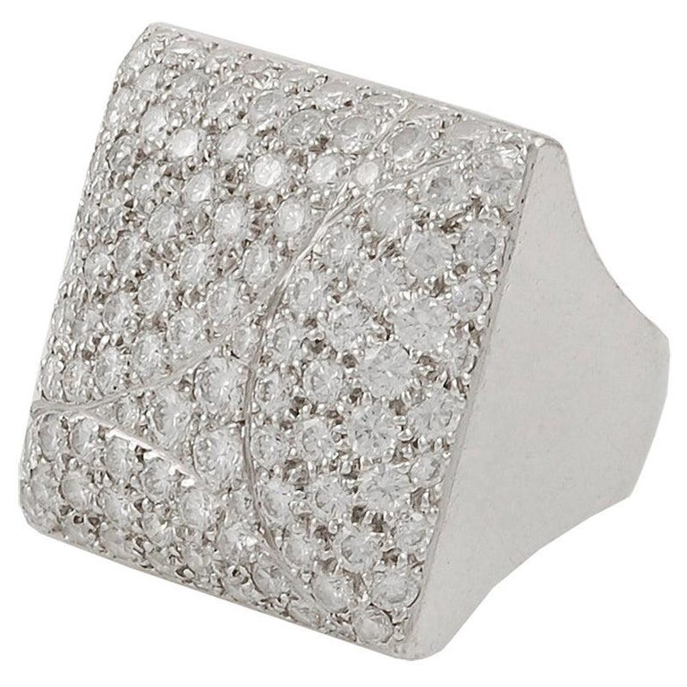 Cartier Diamond Square Shape Ring For Sale