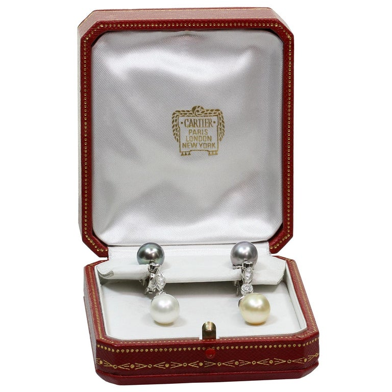 Cartier Diamond Tahitian and South Sea Pearl Platinum Drop Earrings In Excellent Condition For Sale In New York, NY