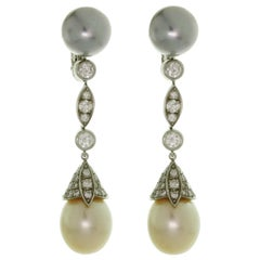 Cartier Diamond Tahitian and South Sea Pearl Platinum Drop Earrings