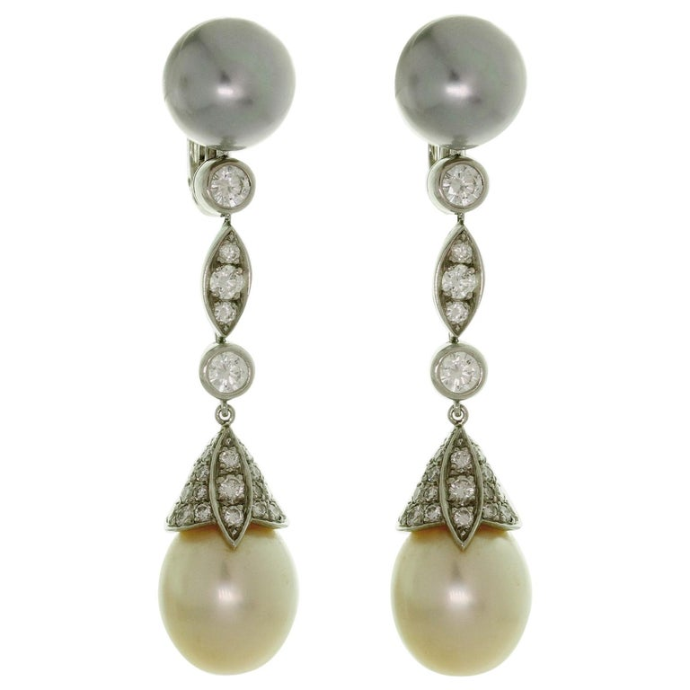 Cartier Diamond Tahitian and South Sea Pearl Platinum Drop Earrings For Sale