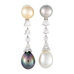 Cartier Diamond Tahitian South Sea Pearl Platinum Clip-On Earrings