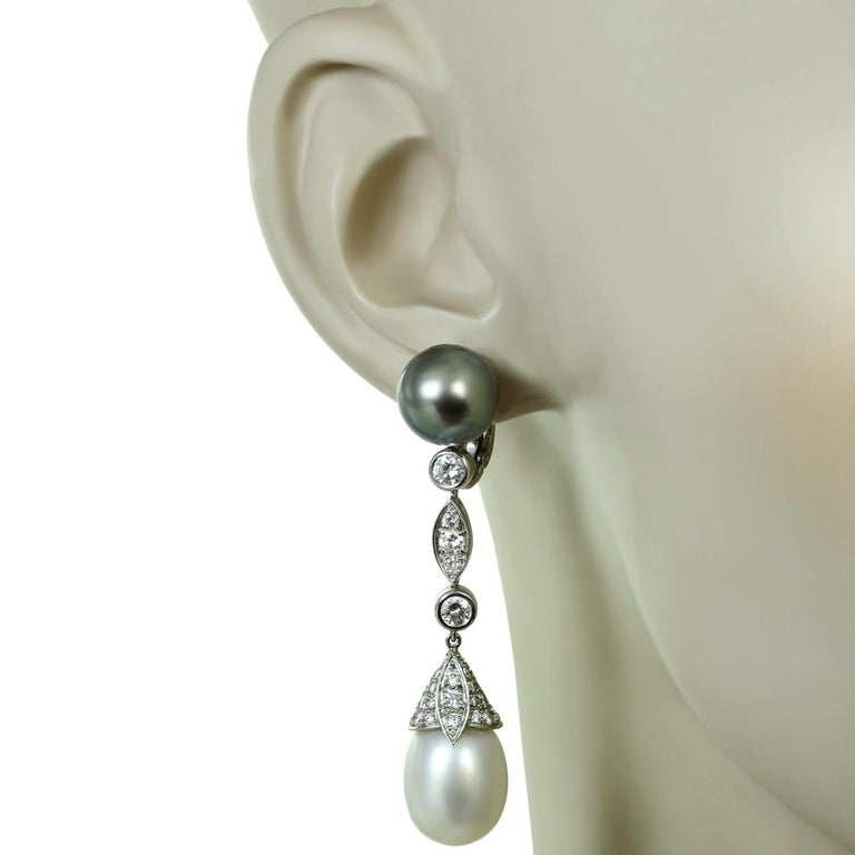 Women's Cartier Diamond Tahitian and South Sea Pearl Platinum Drop Earrings For Sale