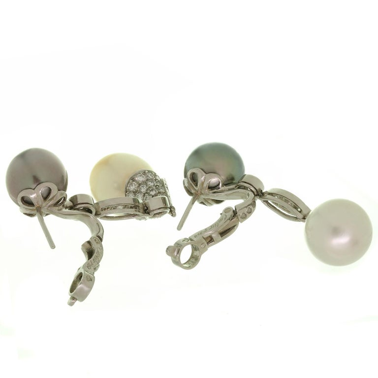 Cartier Diamond Tahitian and South Sea Pearl Platinum Drop Earrings For Sale 1