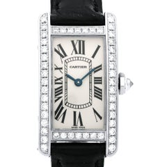 Cartier ladies White Gold Diamond Tank Americaine Quartz Wristwatch