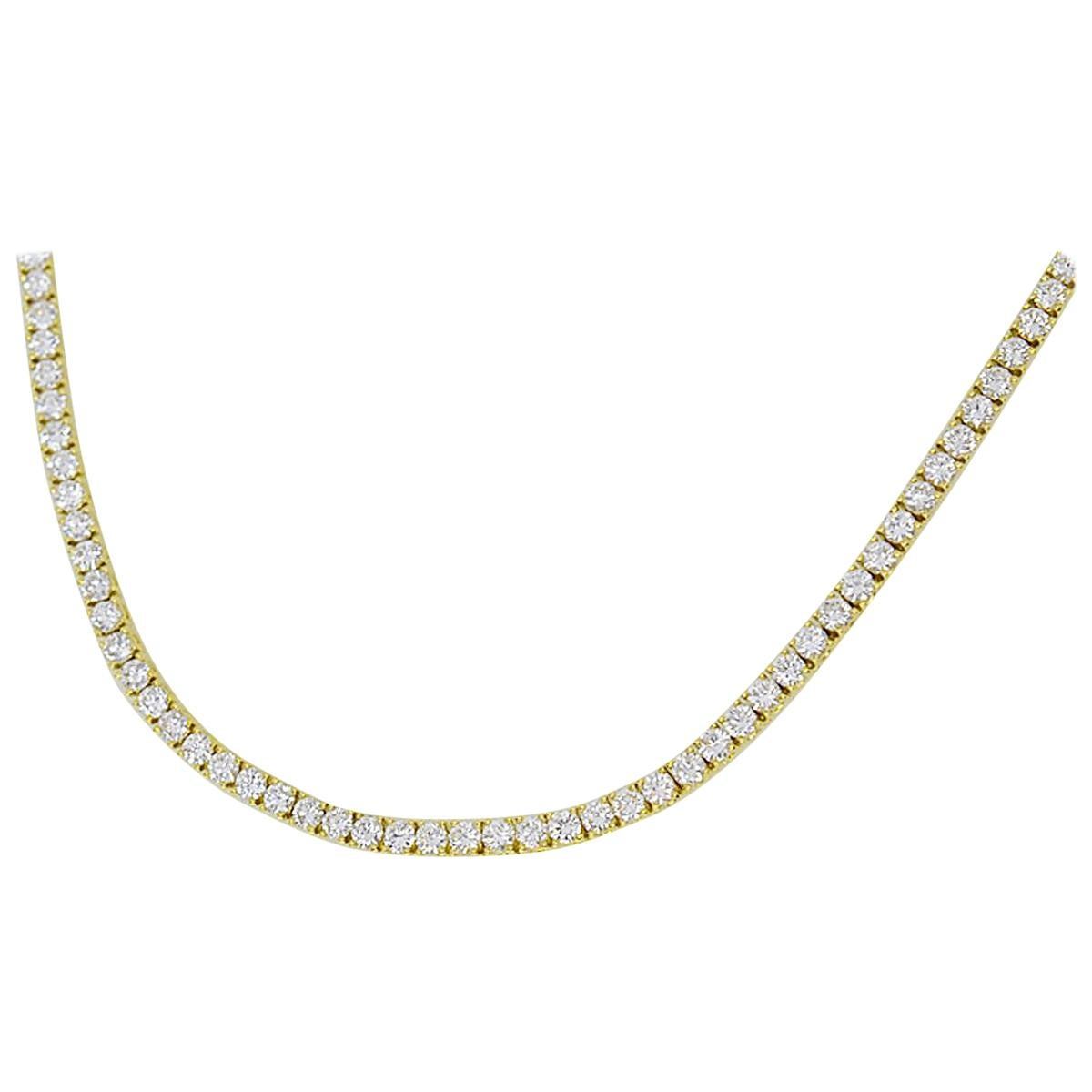 Cartier Diamond 18 Karat Yellow Gold Tennis Necklace 40cm