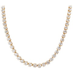 Cartier Diamond Tennis Necklace in 18 Karat Yellow Gold 25.20 Carat