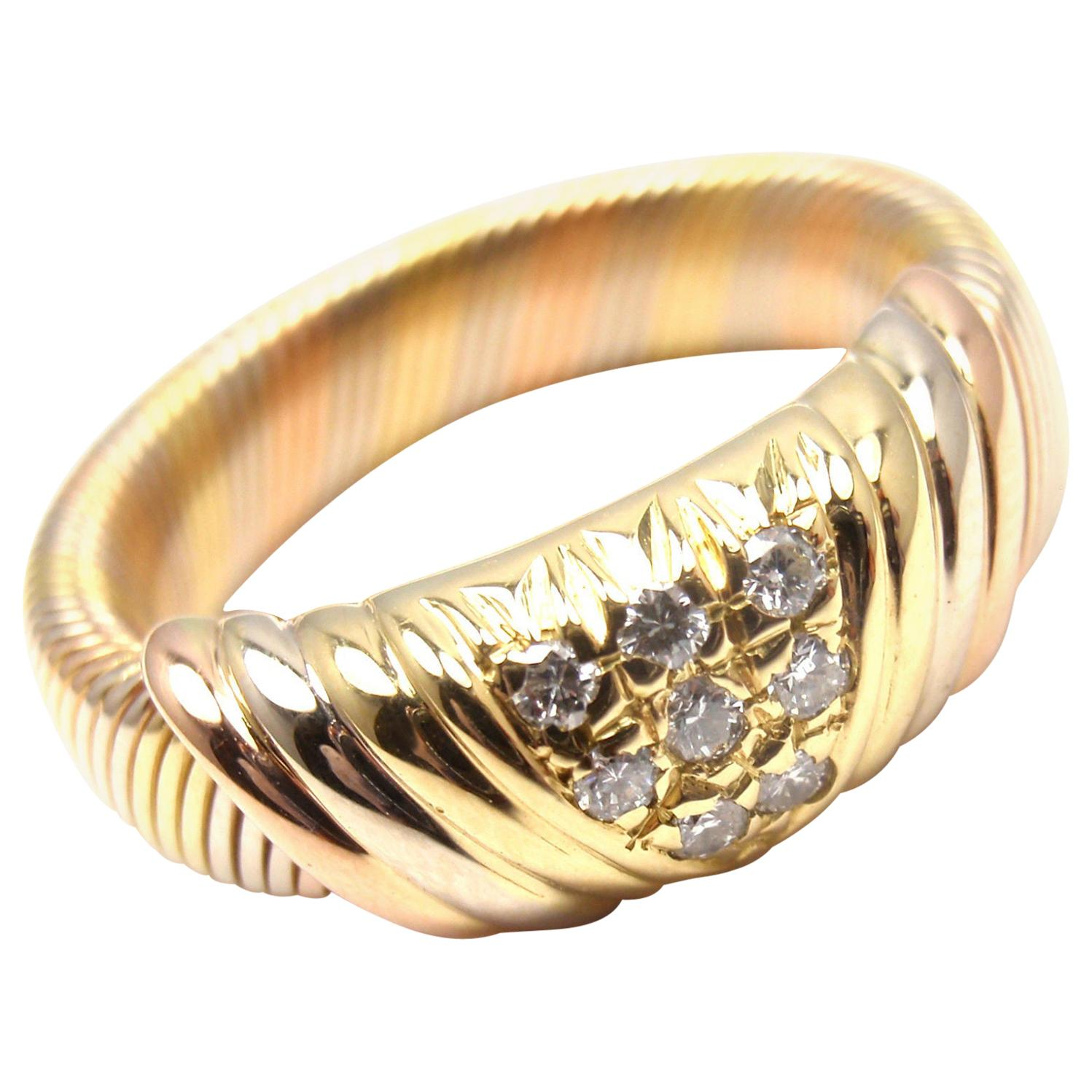Cartier Diamond Tri-Color Gold Band Ring