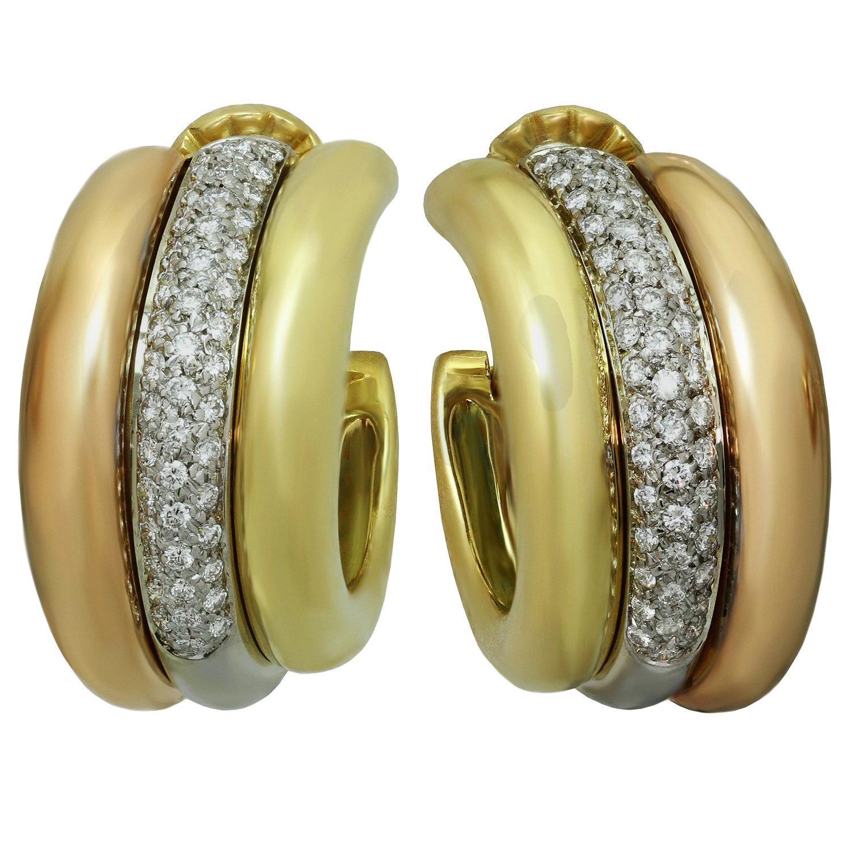 14K Tri-Color Gold Geometric Shaped Hoop Earrings MSRP $83