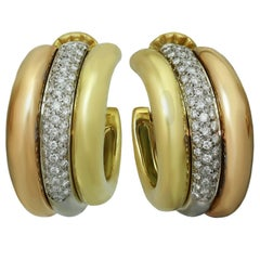 Cartier Diamond Tri-Color Gold Large Earrings