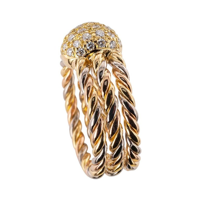Round Cut Cartier Diamond Tricolor Gold Ring For Sale