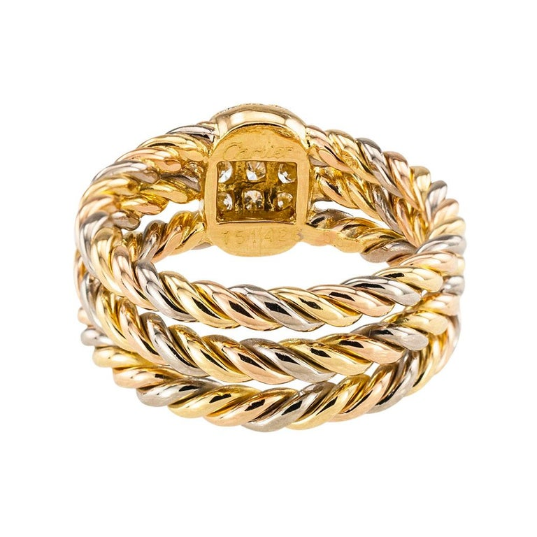Women's Cartier Diamond Tricolor Gold Ring For Sale