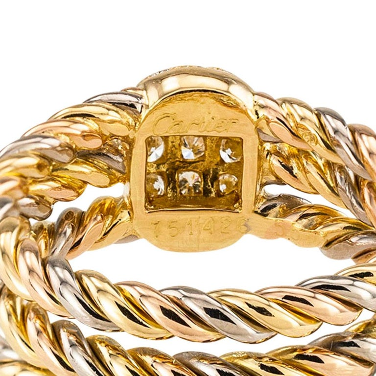 Cartier Diamond Tricolor Gold Ring For Sale 1